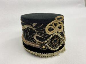 Geborduurde Arabische hoed - Arabisch hoedje zwart met goud
