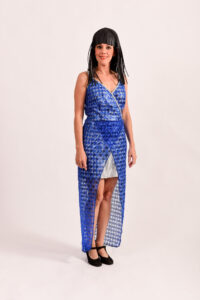 Blauwe jurk met pailletten -