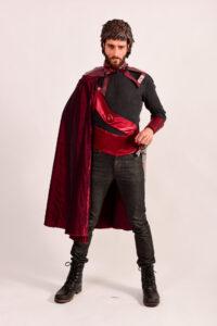 Rode zijden cape -