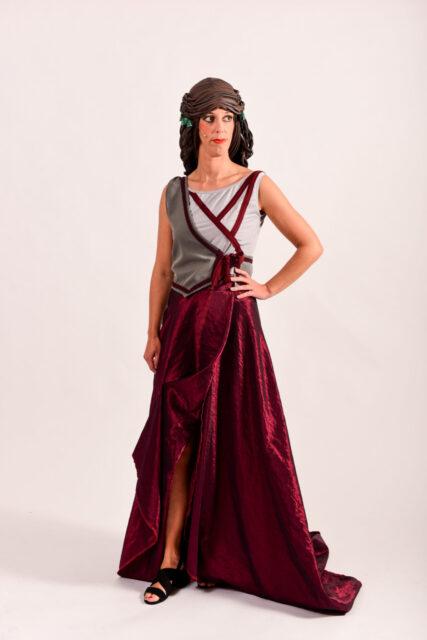 Rode zijden rok -