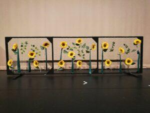Zetpanelen met zonnebloemen - Laag gaaspaneel met zonnebloemen